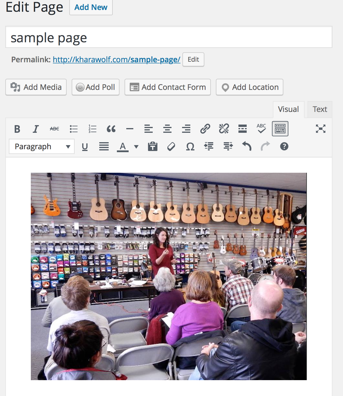 format your content in sample page